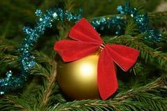 Decorações da árvore de Natal em ramos de árvore do abeto Imagens de Stock