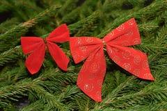 Decorações da árvore de Natal em ramos de árvore do abeto Imagem de Stock Royalty Free