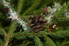 Decorações da árvore de Natal em ramos de árvore do abeto Fotografia de Stock