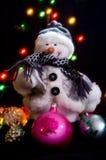 Decorações da árvore do boneco de neve e de Natal fotos de stock royalty free