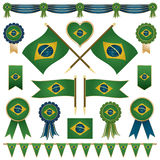 Decorações da bandeira de Brasil Imagens de Stock Royalty Free