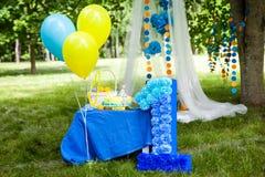 Decorações da festa de anos Fotografia de Stock