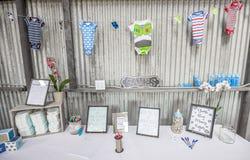 Decorações da festa do bebê do menino Imagem de Stock Royalty Free