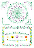 Decorações da haste e das flores Fotografia de Stock