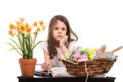 Decorações da Páscoa do desenho da menina Foto de Stock