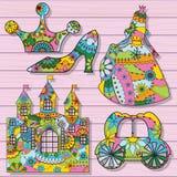 Decorações da princesa coloridas no fundo de madeira Fotografia de Stock