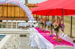 Decorações da tabela da festa do bebê Fotografia de Stock Royalty Free