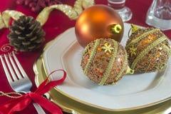 Decorações da tabela do Natal Imagens de Stock