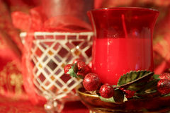 Decorações da vela do Natal foto de stock royalty free