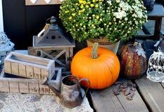 Decorações de Dia das Bruxas com abóbora Foto de Stock