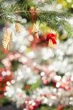Decorações de madeira da árvore de Natal Imagens de Stock