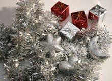 Decorações de prata e vermelhas Foto de Stock Royalty Free