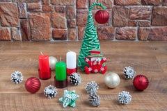 Decorações diferentes para a celebração do Natal e do ano novo Foto de Stock