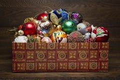 Decorações do ano novo na caixa Imagem de Stock Royalty Free