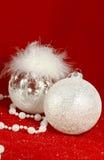 Decorações do branco do Natal imagens de stock royalty free