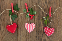 Decorações do coração do Natal Fotos de Stock