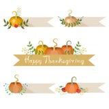 Decorações do feriado das abóboras com bandeiras Fotografia de Stock Royalty Free