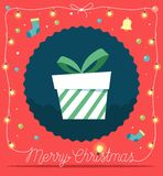 Decorações do fundo da caixa de presente do Natal por luzes e por elementos de Natal Ilustração do vetor Imagens de Stock