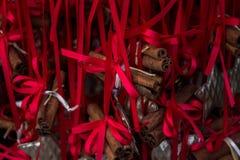 Decorações do Natal com barras da canela Imagens de Stock Royalty Free