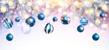 Decorações do Natal com bolas e ramos azuis do abeto Vetor ilustração stock