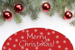 Decorações do Natal com Feliz Natal do ` do cumprimento do Natal! ` Imagens de Stock Royalty Free
