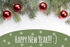 Decorações do Natal com o ano novo feliz do ` do cumprimento!!! : ` Fotos de Stock Royalty Free