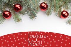 """Decorações do Natal com o cumprimento no ` francês Joyeux Noà """"l Feliz Natal do `! Imagens de Stock Royalty Free"""