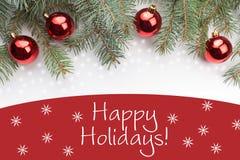 Decorações do Natal com o ` do cumprimento do ano novo boas festas! ` Foto de Stock Royalty Free