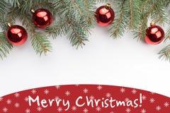 Decorações do Natal com o Feliz Natal do ` do cumprimento! ` Fotografia de Stock Royalty Free