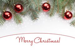 Decorações do Natal com o Feliz Natal do ` do cumprimento! ` Fotografia de Stock