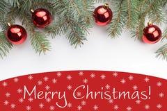 Decorações do Natal com o Feliz Natal do ` do cumprimento! ` Imagem de Stock