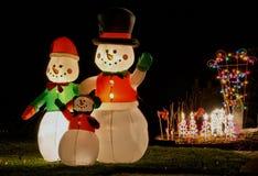 Decorações do Natal da família do boneco de neve Imagem de Stock Royalty Free
