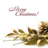 Decorações do Natal do ouro Imagem de Stock Royalty Free