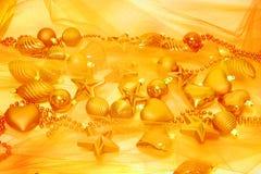Decorações do Natal do ouro Foto de Stock Royalty Free