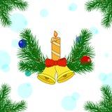 Decorações do Natal dos pinheiros Foto de Stock Royalty Free