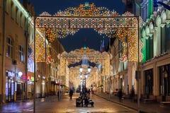 Decorações do Natal em Moscou, Rússia Fotografia de Stock Royalty Free