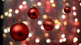 Decorações do Natal, fundo do bokeh, fora das luzes do foco, de fundo abstrato defocused do Natal e do ano novo feliz filme