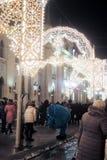 Decorações do Natal na cidade de Moscou na rua de Nikolskaya Foto de Stock