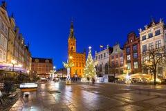 Decorações do Natal na cidade velha de Gdansk Imagens de Stock