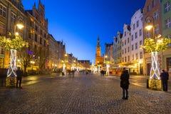 Decorações do Natal na cidade velha de Gdansk, Polônia Fotografia de Stock Royalty Free