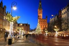 Decorações do Natal na cidade velha de Gdansk, Polônia Fotos de Stock