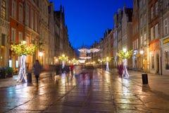 Decorações do Natal na cidade velha de Gdansk, Polônia Foto de Stock
