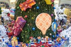 Decorações do Natal na GOMA - shopping em MOSCOU Fotografia de Stock Royalty Free