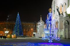 Decorações do Natal na igreja ortodoxa foto de stock royalty free