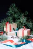 Decorações do Natal na neve branca Imagem de Stock Royalty Free