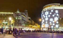 Decorações do Natal nas ruas Barcelona Foto de Stock Royalty Free