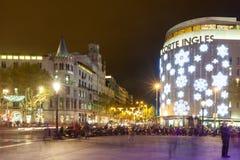 Decorações do Natal nas ruas em Barcelona, Catalonia Fotos de Stock