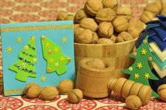 Decorações do Natal Natal Noite de Natal Ornamento do Natal com correia do cetim Foto de Stock