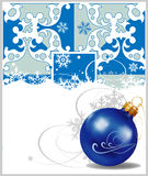 Decorações do Natal no fundo azul Imagem de Stock Royalty Free