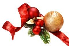 Decorações do Natal, no fundo branco. Imagem de Stock